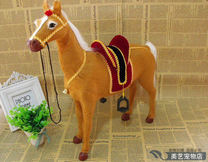 simulation horse model,polyethylene&fur large 45x12x44cm yellow horse handicraft toy home decoration Xmas gift b3859 large 30x25 cm simulation cat model toy lifelike white cat model home decoration gift t178