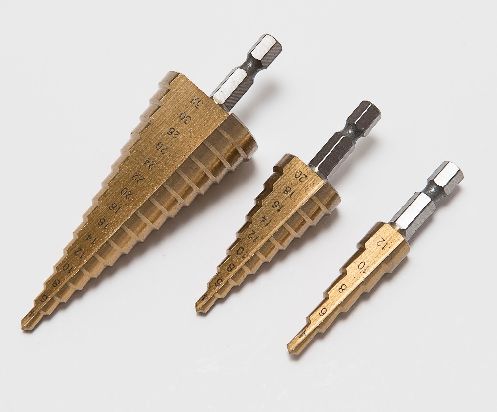 3pcs Hss Steel Titanium Step Drill Bits 3-12mm 4-12mm 4-20mm Step Cone Cutting Tools Steel Drilling Bit Woodworking Powe Tool new 10pcs jobbers mini micro hss twist drill bits 0 5 3mm for wood pcb presses drilling dremel rotary tools