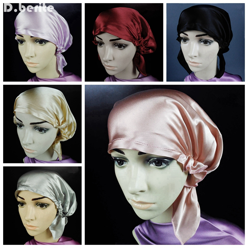 Women 100% Silk Sleeping Hats Bonnet Hair Care Wrap Night Sleep Cap Soft Bonnet Girl Hat Solid Skullies & Beanies DAJ9099