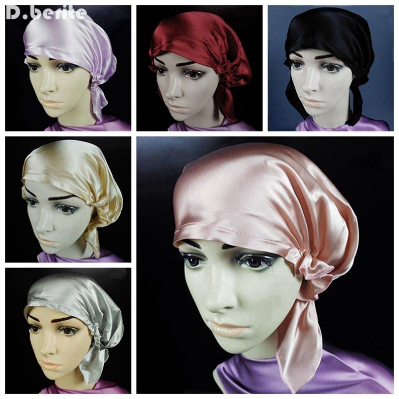 цены на Women 100% Silk Sleeping Hats Bonnet Hair Care Wrap Night Sleep Cap Soft Bonnet Girl Hat Solid Skullies & Beanies DAJ9099 в интернет-магазинах