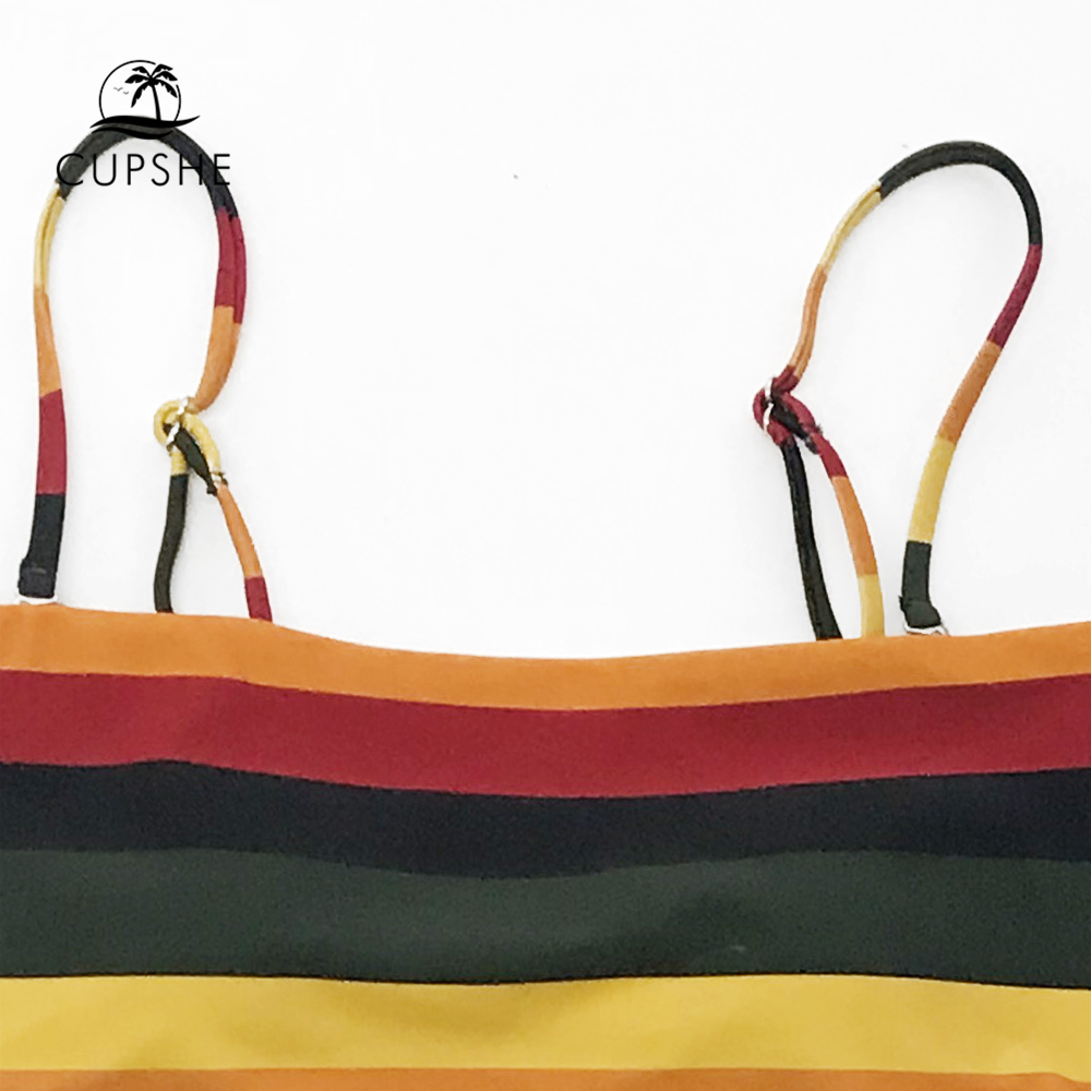 f6256fe37c74 CUPSHE Black And Yellow Stripe Reversible Bikini Sets Women Sexy Bandeau  Two Pieces Swimsuits 2019 Girl Beach Bathing Suits-in Bikinis Set from  Sports ...