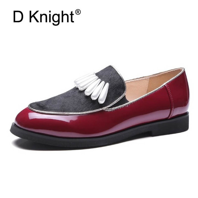 Pearls Women s Loafers Patent leather Oxfords Shoes For Women Horsehair  Patchwork Slip On Casual Flats Platform Shoes Woman E85