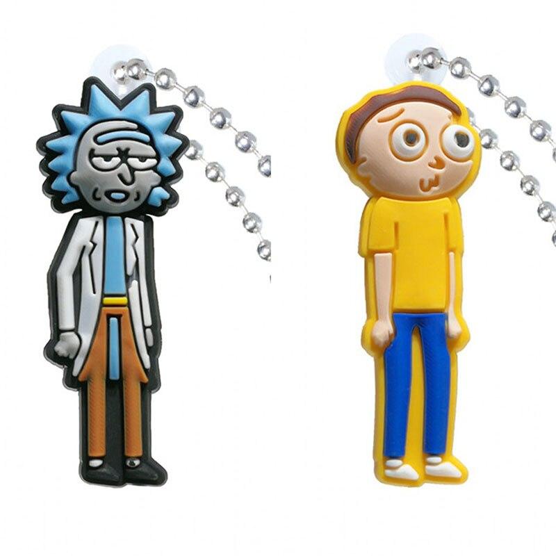 1pcs PVC Keychain Cartoon Figure Rick And Morty Key Chains Key Ring Key Holder Key Cover Fashion Charms Trinkets Kids Gift