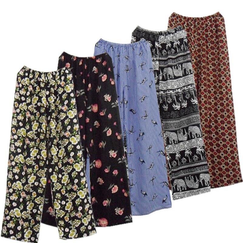 sleep bottoms summer women pants plus size cotton pajamas pants loose trousers pajamas femme coton casual home suit nightgown