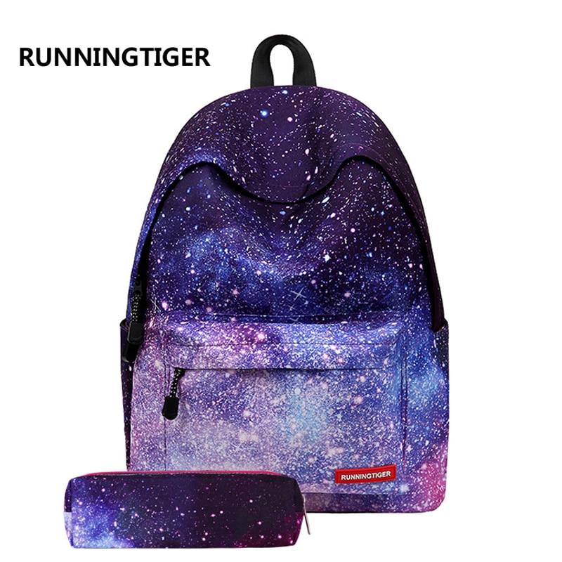 Runningtiger 2 unids establece mochila de impresión de lona mochilas escolares para niñas bolsa de viaje mujeres mochila estudiantes Mochila Feminina púrpura