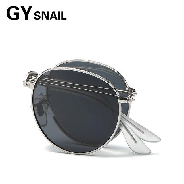 abcc0d7c851 GY SNAIL Foldable Sunglasses men Polarized Steampunk glasses Women brand  Designer vintage Men folding sunglasses Round sunglass