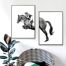 HAOCHU Nordic Decorative Painting Double League Horse Animal Living Room Study Home Canvas Art Print Poster Wall Mural Picture