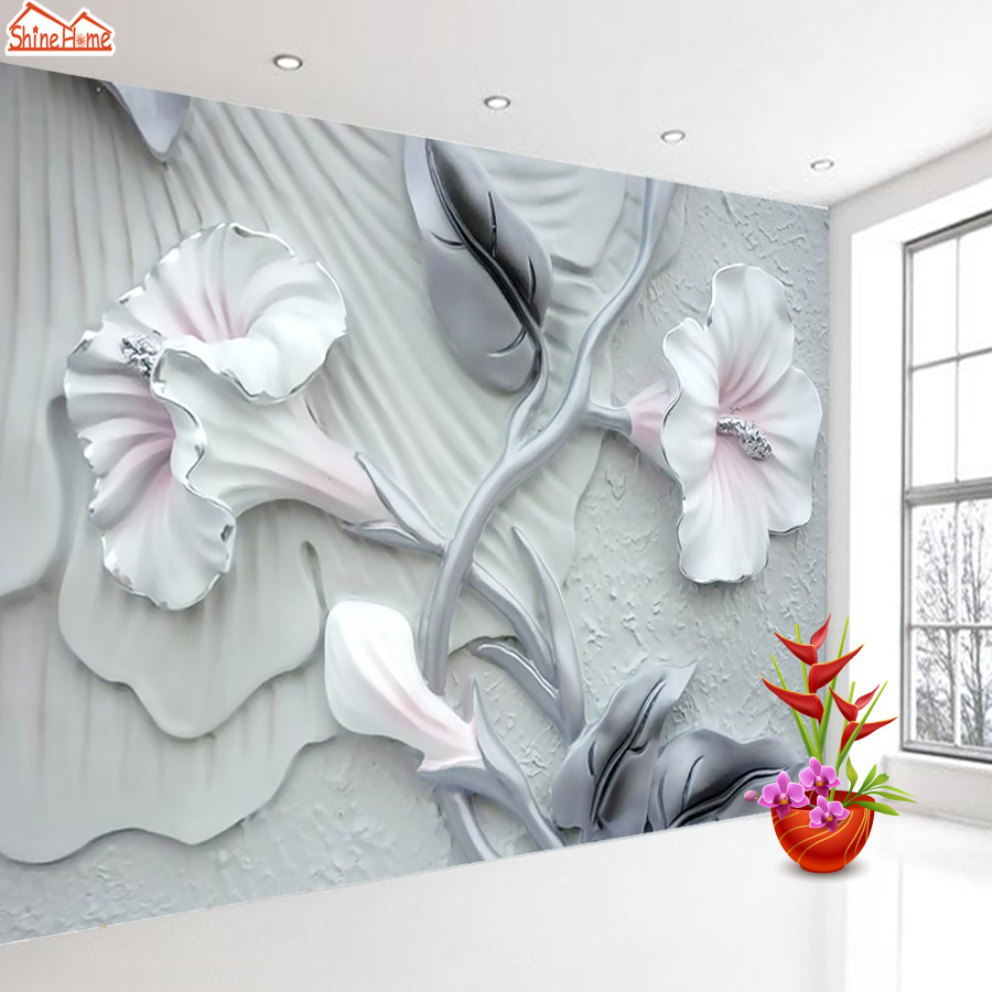 ShineHome-Modern Custom Embossed Floral Blossom Photo Wallpapers for Wall 3 d Living Room Girl Children Bedroom Cafe Murals Roll shinehome classical rose music embossed photo wall paper room wallpaper 3d for livingroom 3 d wall roll background murals rolls