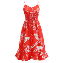 Sexy Spaghetti Strap Beach Midi Dress 2019 Vintage Floral Print A-line Mermaid Dress Red White Black Ruffle Holiday vestidos(China)