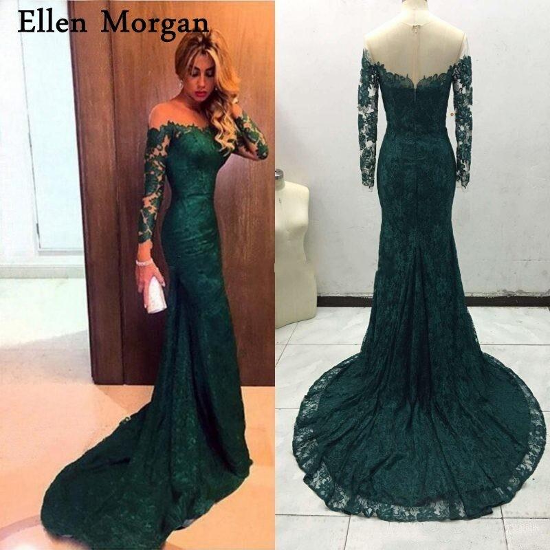 Dark Green Long Sleeves Mermaid   Evening     Dresses   2019 Floor Length Elegant Formal Gowns Saudi Arabian Muslim Vestido De Festa