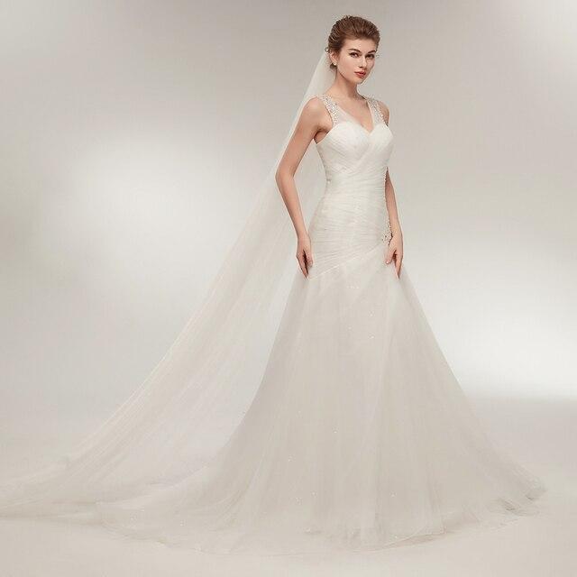 Elegant White Tulle Bridal Dress Sweetheart Neckline Wedding Gown Pleat  Ruffles Sequin Beaded A Line Wedding Party Dresses 2019 b672969161b7