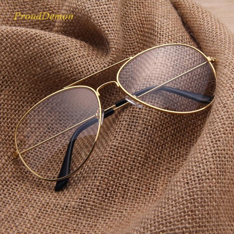 2019 Márka Tiszta szemüveg Női Klasszikus Optika Szemüvegek Repülő ötvözet Keret Átlátszó Lencse szemüveg Férfi Napszemüveg Női Oculos