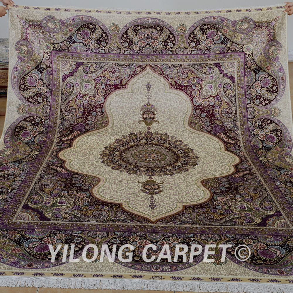 Yilong 8u0027x10u0027 Persian Silk Rugs For Sale Antique New Design Purple Kashmiri  Handmade