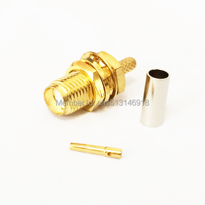 1pc  SMA Connector Female Jack  nut  RF Coax Crimp for RG58 ,RG142 ,RG400 ,LMR195 Cable Straight  Goldplated  NEW wire connector rp sma female to y type 2x ip 9 ms156 male splitter combiner cable pigtail rg316 one sma point 2 ms156 connector for lte yota