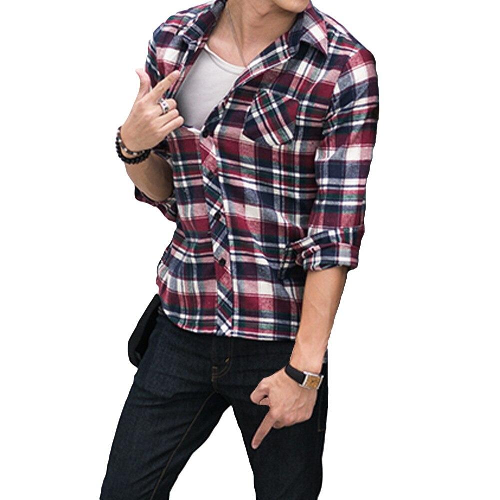 Korean Fashion Men Shirt Plaid Check Pattern Turn down Collar Long ...