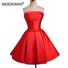 NICEOOXIAO Real Photo Vestidos de Noche Rojo de Poliéster Corto Vestidos Del Partido Sin Tirantes de Moda 2018 Nuevos Bolsillos Vestido de Noche Formal