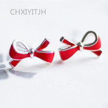 925 sterling silver needle Stud earrings Bowknot is red Women's fashion earrings jewelry wholesale chalcedony pomegranate red corundum silver ways is high grade female stud earrings earrings