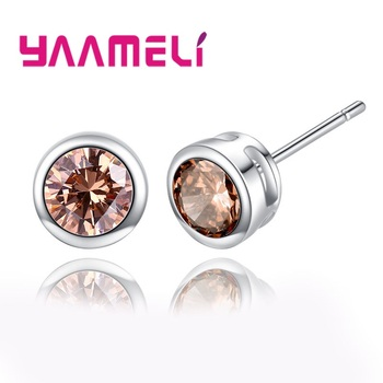 Big Sale 925 Sterling Silver 6MM Stud Earrings For Women Cubic Zirconia Jewelry Gifts For  Baby/Girls/Students 5