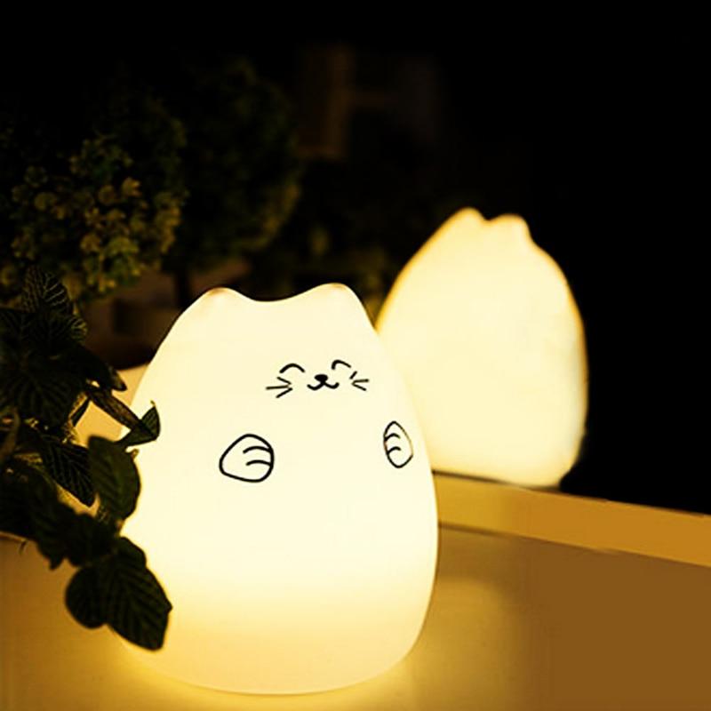 1PC Cute Luminaria USB Cat LED Children Animal Night Light Silicone Soft Cartoon Baby Nursery Lamp Christmas Led