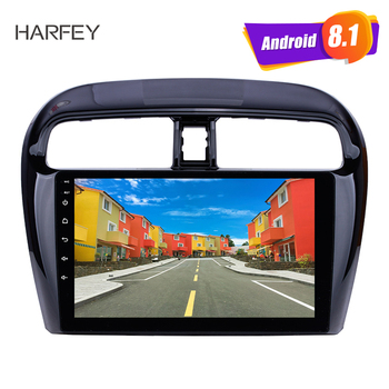 Harfey 9 inch Android 9.1 Car Radio for Mitsubishi Mirage 2012-2016 GPS Navigation System with 1024*600 HD Touchscreen WIFI FM image