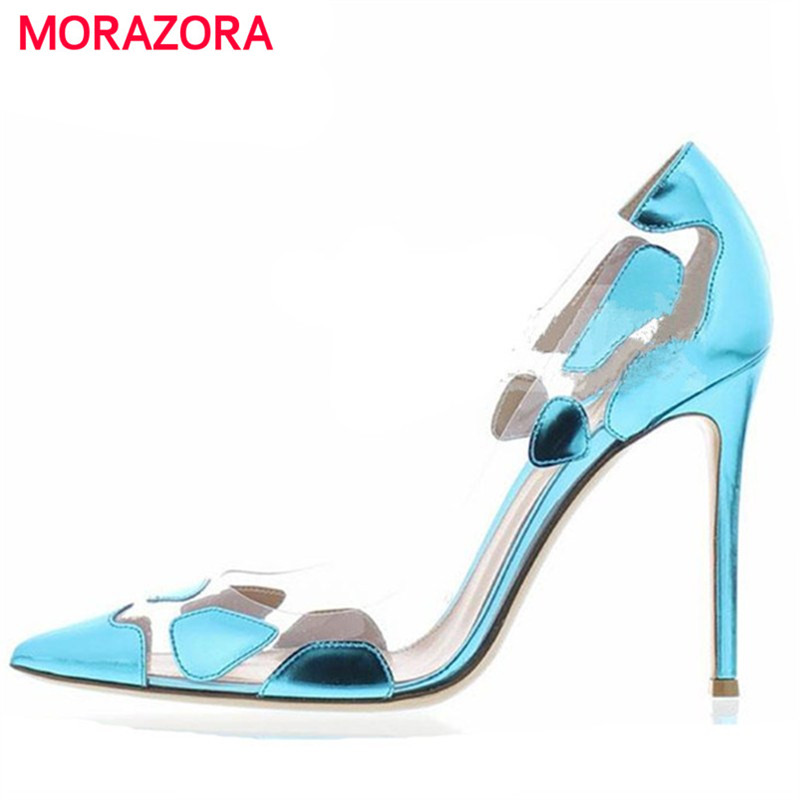 MORAZORA 2018 Spring high heels shoes woman party pointed toe inside genuine leather shoes women pumps size 34-43 meotina genuine leather women pumps high heels pointed toe nude shoes 2018 spring block heels ladies party shoes bow size 34 43