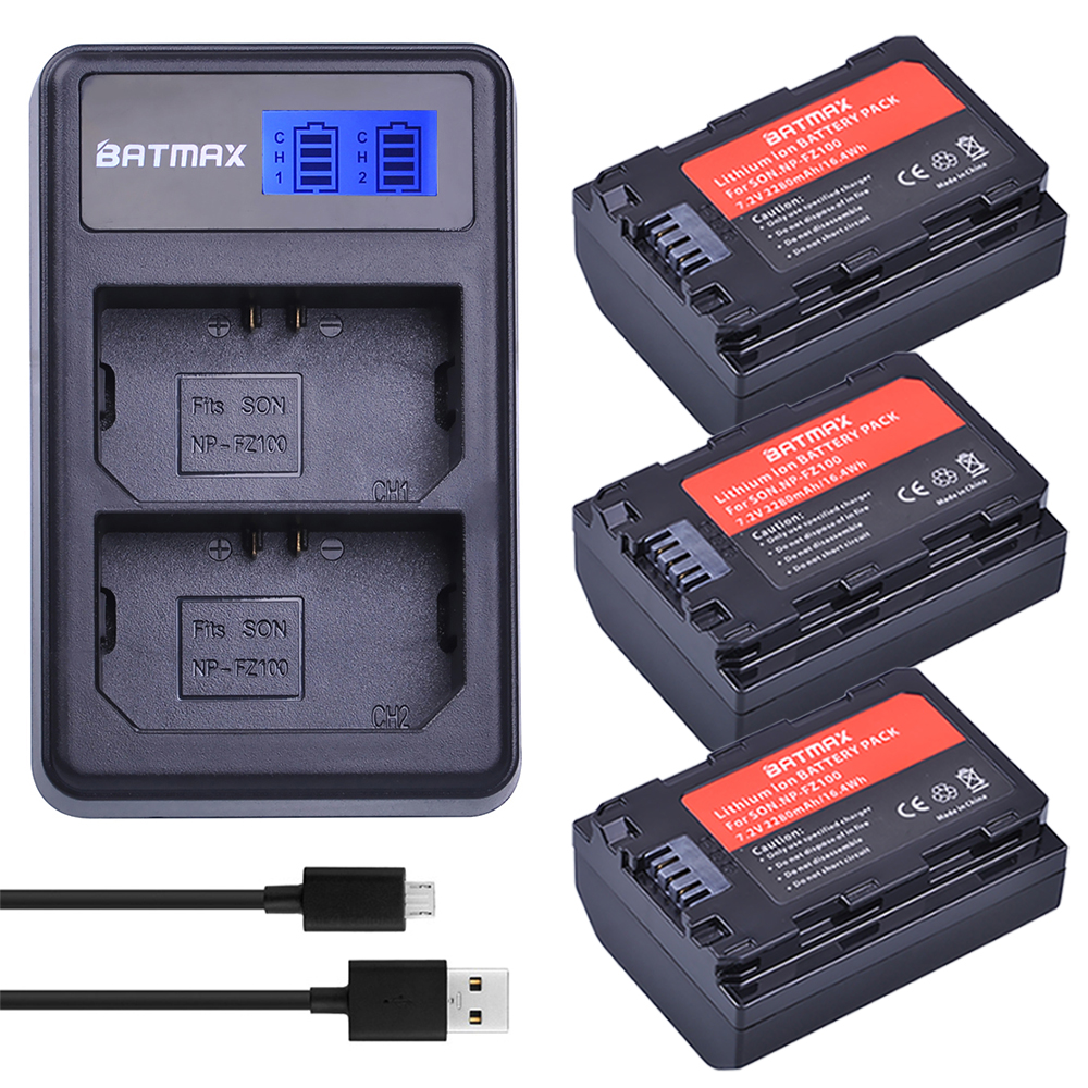 Batmax 3pc 2280mAh NP-FZ100 Battery+LCD Dual USB Charger for Sony NP FZ100,NPFZ100 ,Alpha9,Sony A9,Sony Alpha9R,Sony A9R Camera купить недорого в Москве