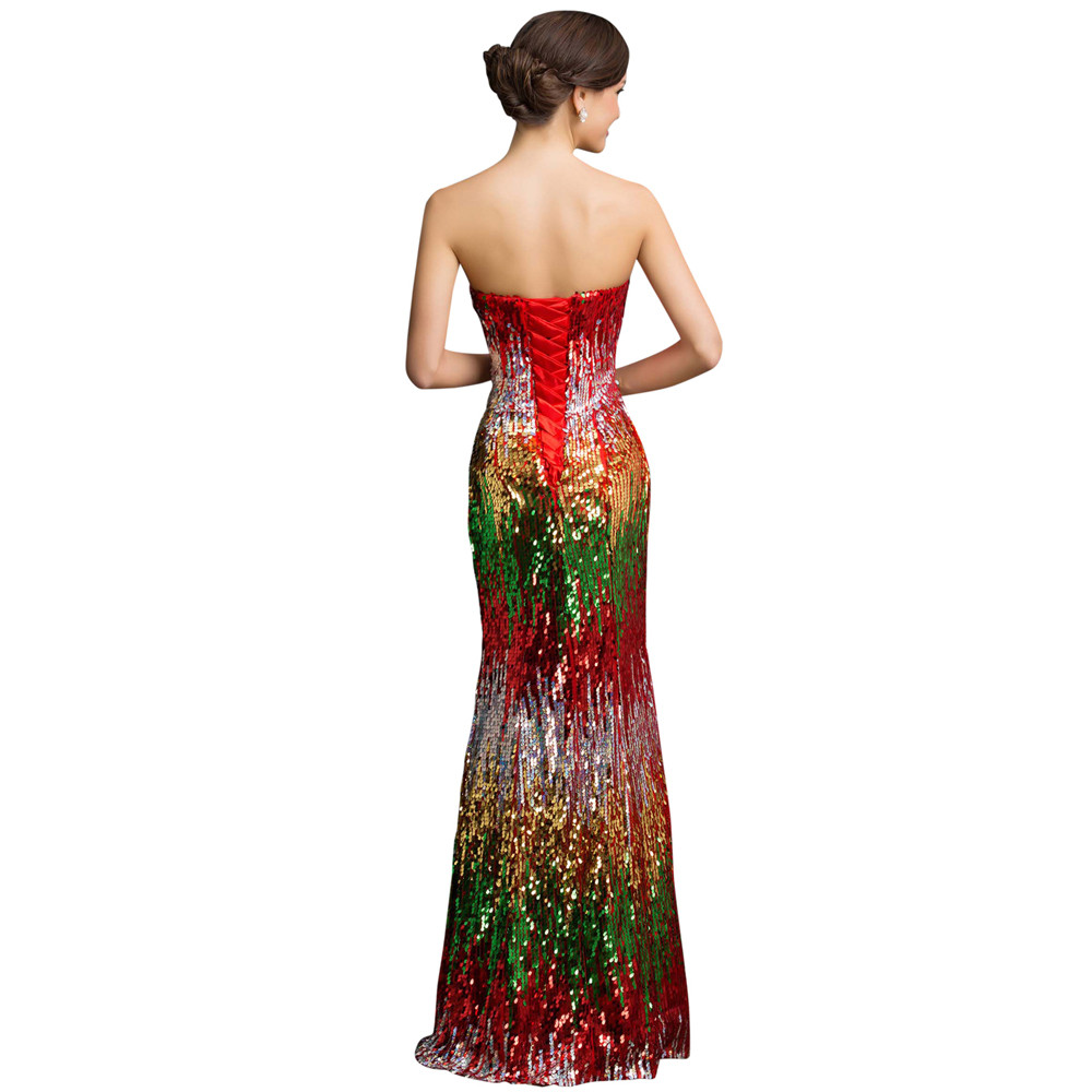 Sweetheart Colorful Sequins Lace Evening Dress 17