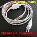 2m waterproof led strip 220V 5050 SMD 60 LED Flexible Strip Light 5W/M ,warm white/Cool white,60leds/m