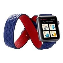 2016 nueva venta al por mayor 38mm 42mm grano rejilla de lujo del cuero genuino correa de reloj banda reloj de pulsera de doble chian para apple watch