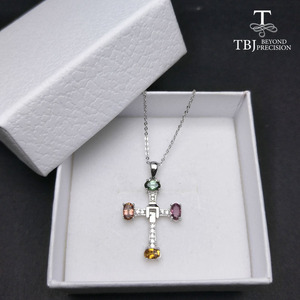 Image 5 - TBJ ,Elegant cross design with natural tourmaline multicolor gemstone necklace in 925 sterling silver fine jewelry with gift box