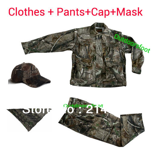 4 Piece Set of Bionic Camo Clothes Hnting Gear Camouflage Hunting Clothing  Hunting Gear Free Ship double fleece camo suits fabric jungle camouflage hunting clothing sets for hunter clothes