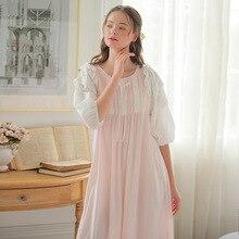 New Spring Summer Cotton 90% Nightdress Women Nightgowns O-neck Nightwear Lady Sleepwear Lace Home Palace Princess Dress