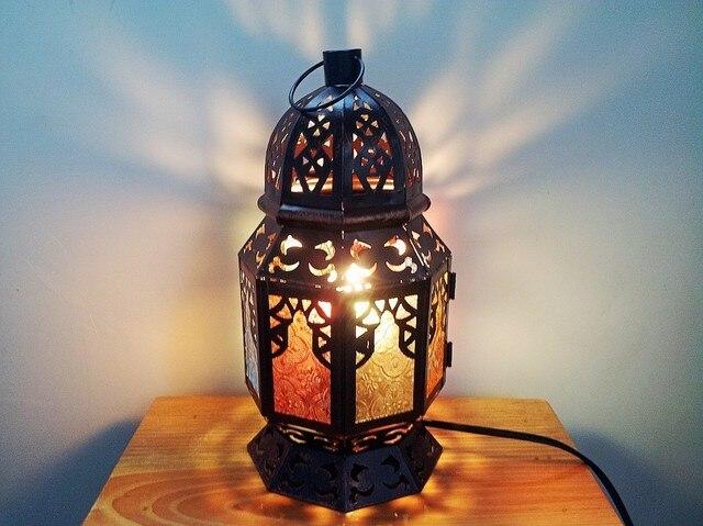 Asie Du Sud Thai Bronze Lampe De Table Gradateur Lampe Marocaine