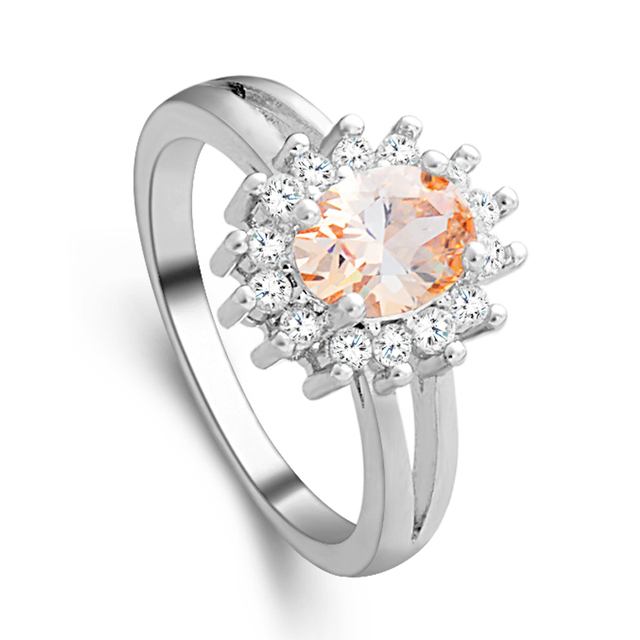 H:HYDE Amazing Price Silver Color Rings Shiny Champagne CZ Zircon sweet wedding