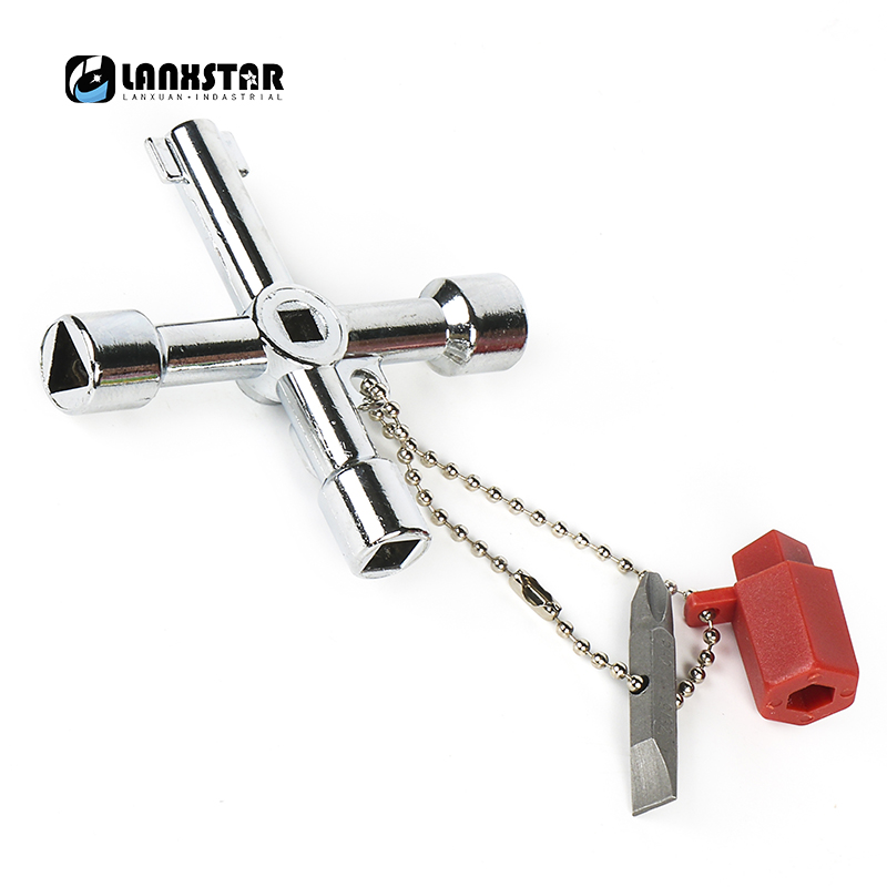 New Multifunction 4 in 1 Cross Rim Wrench for Cabinet Door Water Meter Valve Train Elevator Triangular Key Square Hole-wrench