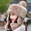 Nova falso inverno pele de coelho chapéu gorro de pele quente moda feminina malha chapéu forrado a pele chapéu Leifeng