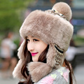 new winter faux rabbit fur hat warm fur cap female fashion knitted fur hat Leifeng hat