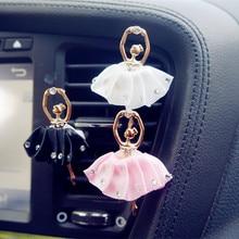 Exquisite Car Perfume Rhinestone Metal Lovely Ballerina Girl Air Conditioner Clip Solid Freshener Interior Accessories