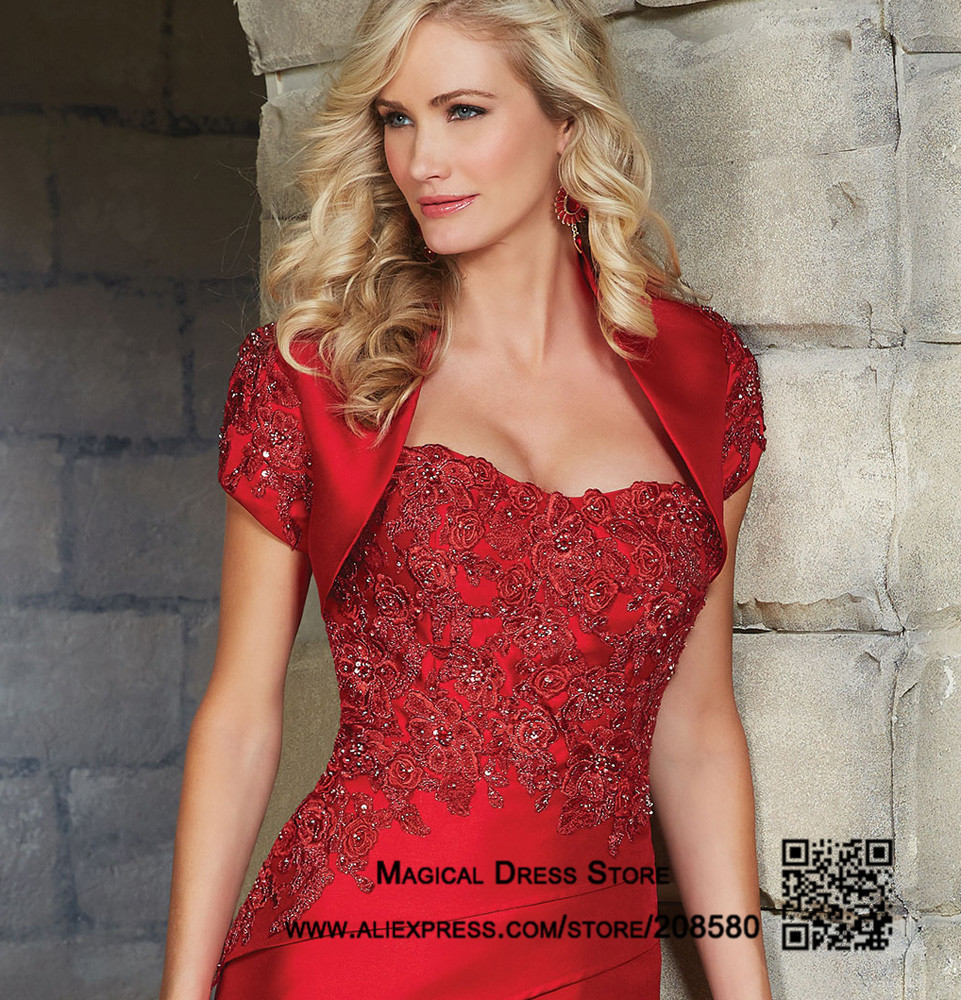 Red mother of the bride short dresses