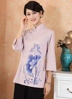 Free shipping ! Fashion Purple Chinese Women's clothing Cotton Linen Blouses Shirt tops Flower Size S M L XL XXL XXXL 2379 2