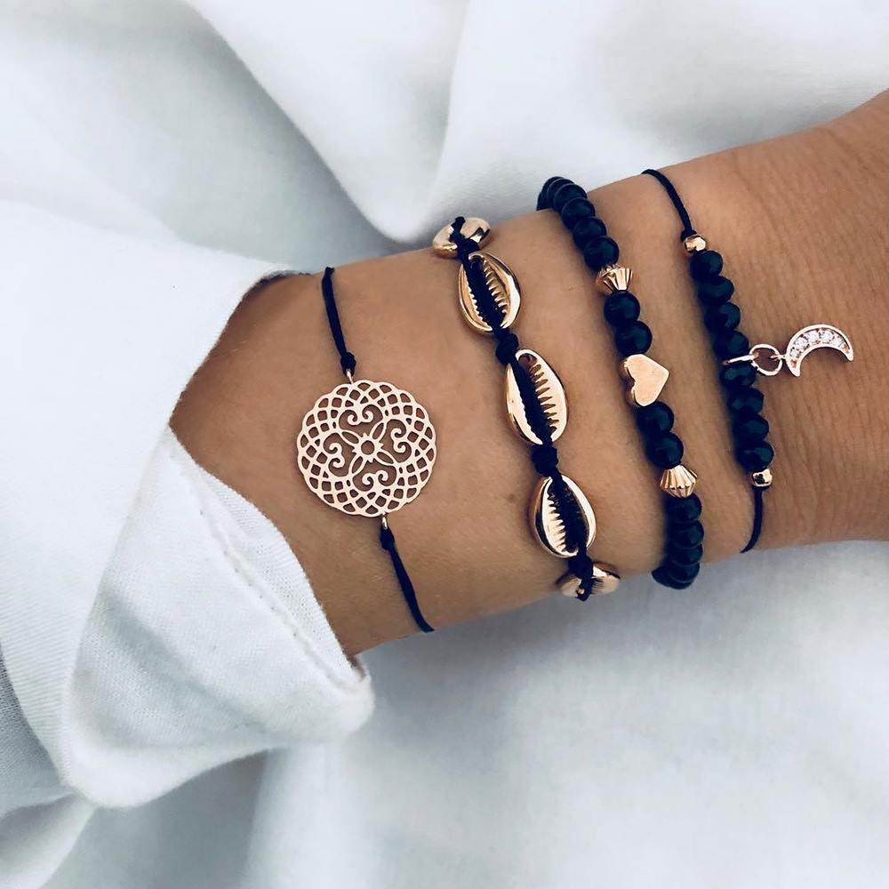 Tocona Boho Beaded Gold Color Moon Shell Crystal Pendant Layered Bracelet Bangle Set for Women Flower Adjustable Bracelet 3826
