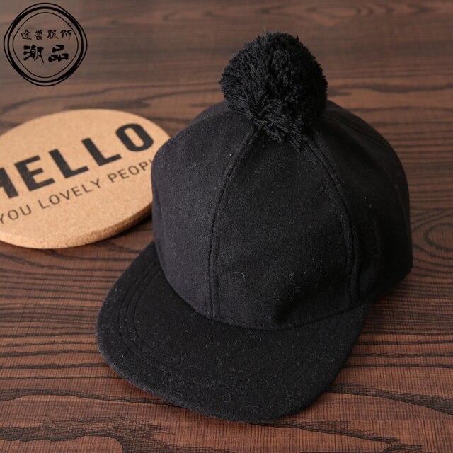 25f5b7f2a3e New Pom Pom Hats Kids Felt Caps Kids Baseball Cap Snapback Children  Boys Girls Cotton Hip Hop Cap Baby Flat Along Winter Hats