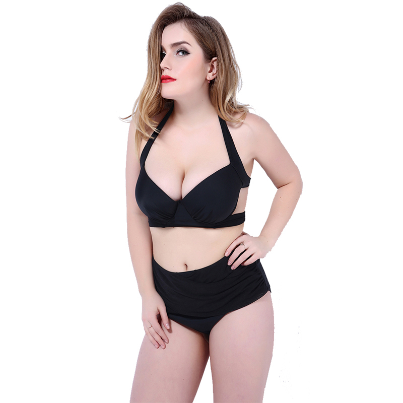 High quality Plus size Sexy High Waist Blackless Solid Women Black Bikini Swimwear Underwire big women Swimsuit шлепанцы vagabond vagabond va468awpjb28