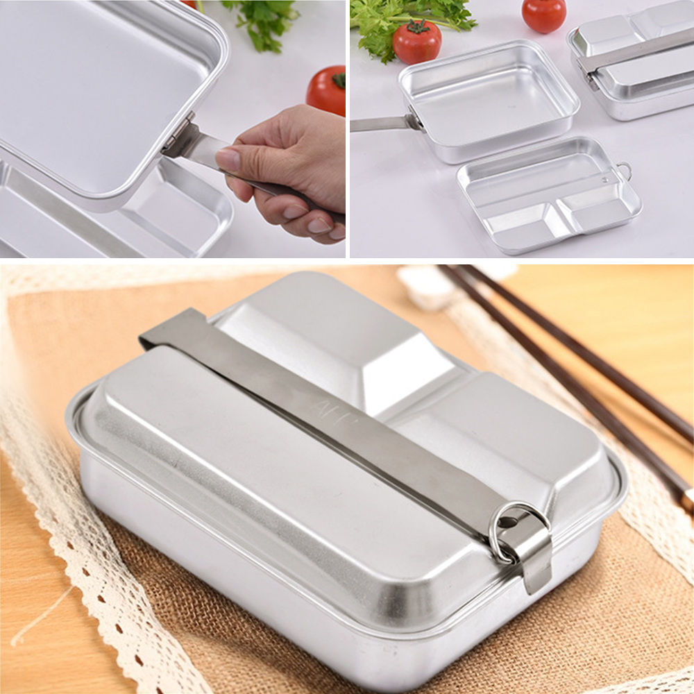 Aluminum 2-IN-1 Food Bento Lunch Box Lunch Box Food Container Lightweight Food Storage Container Outdoor Camping Picnic Box image