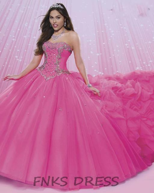 e536c055ac Beautiful Hot Pink Quinceanera Dresses with Detachable Train Strapless  Beading Bodice Ball Gown Sweet 16 Debutante Dress FQD04