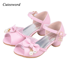 Fashion Children princess girl sandals bow tie kids wedding high heels kid girls dance shoes party shoes for girls sandals 2017 2017 summer girls sandals children princess shoes for party wedding dress dance kids toddler shoes baby flat sandals