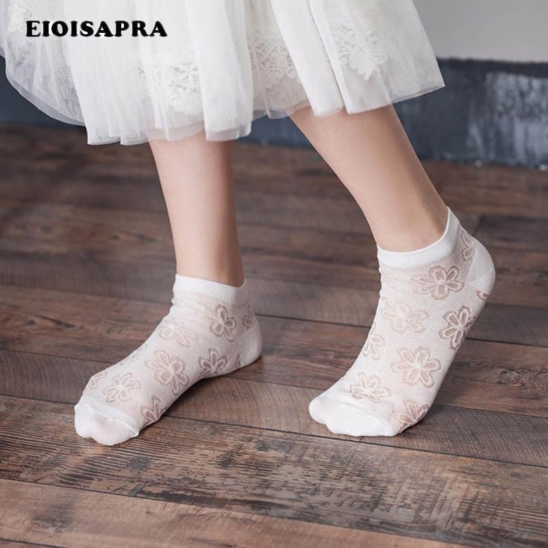 [EIOISAPRA]Flowers Japan Lace Silk Cotton Cute Socks Women Short Japan Sock Creative Sexy Socks Harajuku Hollow Out Sokken Sox