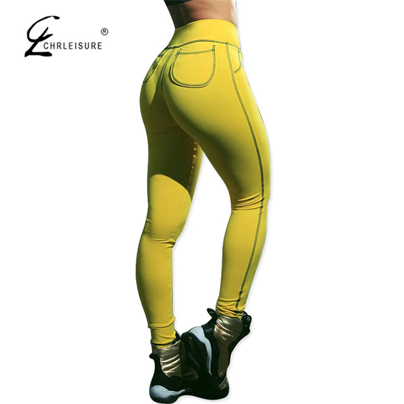 064c33f497f6a CHRLEISURE Fashion Push Up Leggings Women Casual Skinny Bodybuilding  Leggins Workout Legging Pockets Trousers 4 Colors S XL-in Leggings from  Women's ...