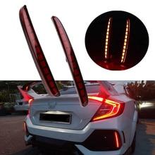 2PCS For Civic Hatchback 2016 2017 2018 Multi-function LED Rear Bumper Light Rear Fog Lamp Auto Bulb Brake Light Reflector недорого