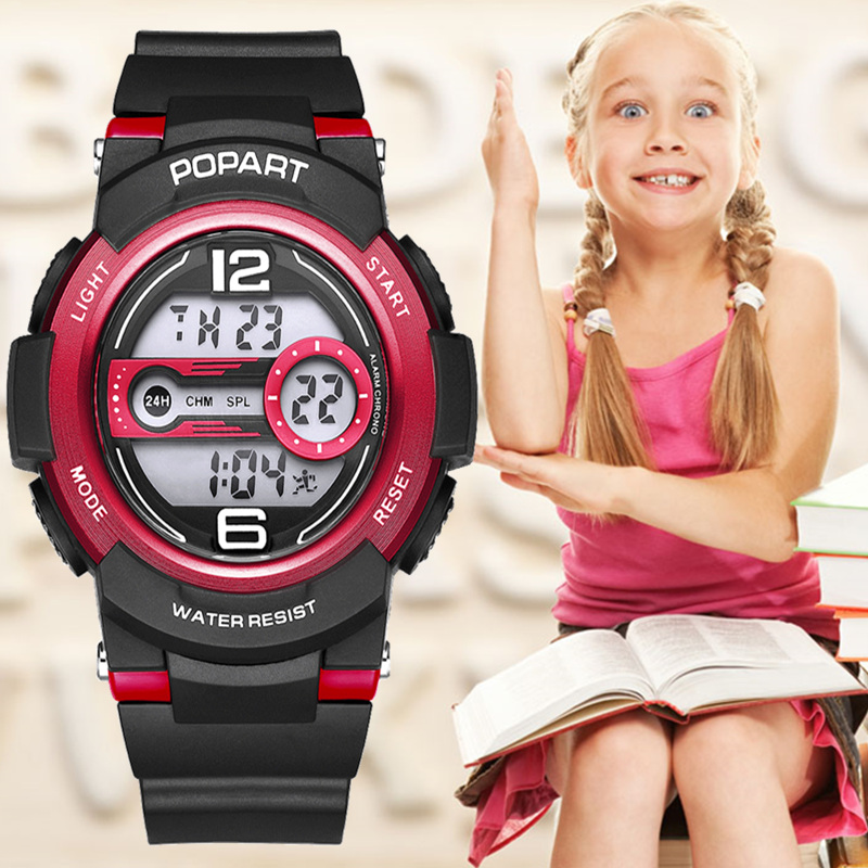 POPART Children Watches For Girls Boys Kids 7-Colored Back Light 50m Waterproof Sport Watch LED Digital Wristwatches Child Clock children sport watches digital wristwatches for student kids boys girls clock 2018 led electronic watches waterproof kol saati
